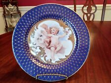 """Fitz & Floyd Plate Les Anges Cherub in Gold Decorative Blue & Gold 8"""" On Sale"""