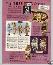 1959 PAPER AD 3 PG Waltham Wrist Watch 53 Jewel Farmington Northampton Rototron
