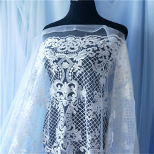 Ivory Embroidery Bridal Dress Fabric Floral Wedding Costume Lace Fabric 0.5 M