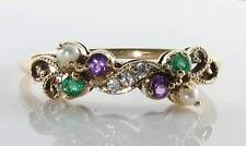 CLASS 9CT 9K GOLD SUFFRAGETTE AMETHYST EMERALD PEARL DIAMOND ART DECO INS RING