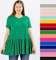 1X 2X 3X Women's Ruffled Bottom T-Shirt Loose Tunic Soft Knit Top Short Sleeve