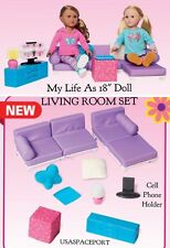 "LIVING ROOM SET Couch Sofa Bed Chair for 18"" American Girl Doll Boy Furniture"