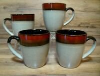 SET OF 4 - GIBSON ELITE - COUTURE BANDS RED - 12 OZ COFFEE CUPS / MUGS