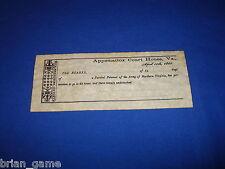 Appomattox Parole Ticket, Army of Northern Va. Replica