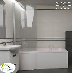 Set Badewanne + Badewannenabtrennung eckig Dusche Rechteck 150 160 170 x70 links