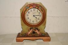 ANTIQUE Vtg WATERBURY Cyclone MANTLE Shelf CHERUB CASE Alarm CLOCK Art Nouveau
