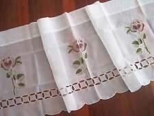 Pretty Purple Rose Embroidery Cutwork White Sheer Cafe Curtain