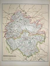 1901 LARGE VICTORIAN COUNTY MAP ~ HEREFORSHIRE ~ ROSS LEOMINSTER