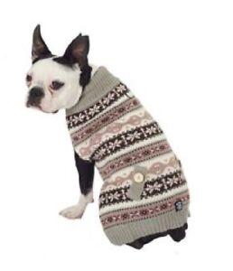 Petrageous Fair Isle Dog Pet Sweater Coat Knit Gray Pink Brown White Msc Sizes