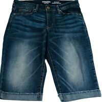 Denizen From Levi's Modern Skinny Blue Denim Cuffed Bermuda Shorts Sz 6