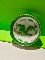 Original China Drache Sake Porzellan Schale Antik Pocelain Old Bowl Dragon Green