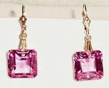 28cts Natural Square Pink Topaz gemstones, 14kt yellow gold Leverback earrings