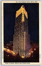 First National Tower Grater Akron's National Bank in Akron, Ohio Linen Postcard