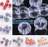 10pcs 12X9mm Faceted Rondelle Crystal Glass Loose Spacer Beads Jewelry Findings