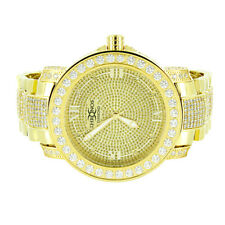 Real Diamond Gold Tone Khronos Watch Stainless Steel Back Roman Number Hour Mark