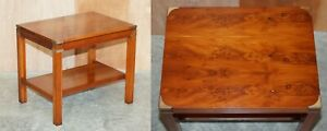 BURR & BURL YEW WOOD MILITARY CAMPAIGN STYLE SIDE END LAMP WINE OR COFFEE TABLE