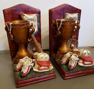 "BASEBALL League Memorabilia Themed Heavy Ceramic Book Ends (7""H X 4.75"" W X 4"" D"
