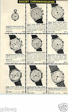 1951 PAPER AD Gallet Chronograph Flight Officer Double Button Calendar Racine