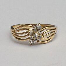 COCKTAIL DIAMOND RING Tru-Lite 14K YELLOW GOLD Size 6 Vintage Fancy Dressup