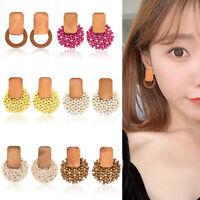 Women Wood Bamboo Rattan Pendant Dangle Drop Earrings Fashion Handmade Jewelry