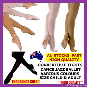 2x CONVERTIBLE TIGHT TIGHTS DANCE BALLET STOCKING STOCKINGS PANTYHOSE KID ADULT