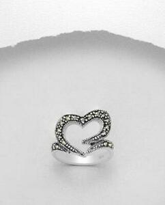 MARCASITE STERLING SILVER RING Open Heart Love Modern GENUINE free shipping