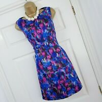 Oasis Dress Size 14 Blue Floral Print Abstract Cut Out Back Wedding Races Party