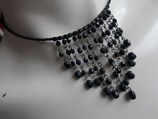 Very Sweet Gothic Style Black Bead Choker Necklace
