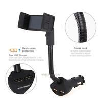 Dual USB Cigarette Lighter Socket Car Charger Mount Holder for iPhone Samsung LG