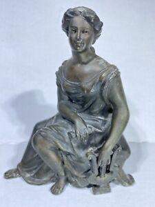 "Neoclassic Greco-Roman Style Woman Cast Bronze? Figure Sculpture 6""X 5.25""X 3"""