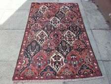 Vintage Hand Made Traditional Rug Oriental Wool Red Blue Small Rug 172x113cm