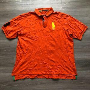 Polo Ralph Lauren Mens 2XLT Tall/Long Big Pony #3 Polo Shirt 100 Cotton Orange