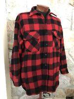 Vintage 60s 5 Five Brother Wool Shirt Jacket RED Buffalo Check Hunting size XL