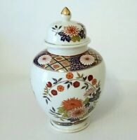 Vintage Japanese Porcelain Ginger Jar Urn Vase With Lid 8 inch Flowers Blue Gold
