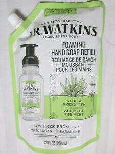 J.R. WATKINS Aloe Vera & Green Tea Foaming Hand Soap Refill Gel 28 fl oz 828 ml