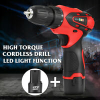 12V Electric Cordless Drill Driver Screw Two-Speed Screwdriver +2 Li Battery