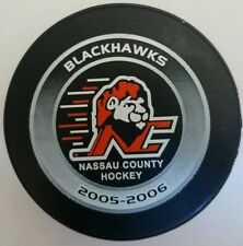 2005-2006 Blackhawks Nassau County Hockey Official Game Puck Made In Canada