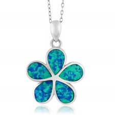 Exquisite Silver Blue Fire Opal Flower Floral Womens Pendant Necklace Jewelry
