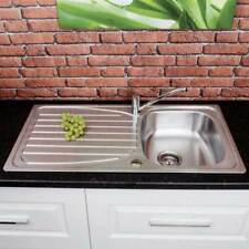 Stainless Steel Inset Kitchen Sink Single Bowl Reversible Drainer & Chrome Tap