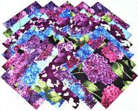 """HYDRANGEA HARMONY from Clothworks - (30) 6.5"""" rotary-cut fabric square set"""