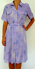 VINTAGE BERKERTEX PASTEL LILAC / PURPLE BUTTON THROUGH BELTED SHIRT DRESS UK 16