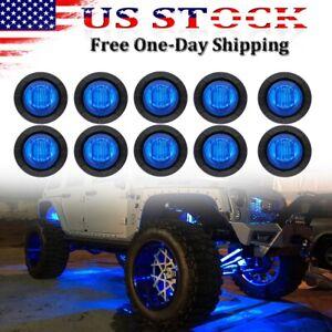 10x Blue LED Rock Lights For Jeep Offroad ATV UTV Truck Bed Under Body Fog Light