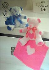 King Cole DK Toy Knitting pattern Teddy Bear Heart Blanket  Heart Cushion 9017