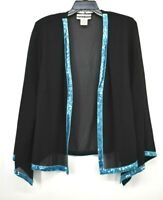 Dana Kay Womens Black Long Sleeve Semi Sheer Blue Sequin Lining Cardigan 18W