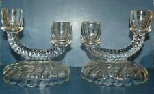 Imperial Glass Newbound Clear Rope Swirl 2-Light Candleholders Set of 2 Crystal