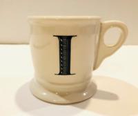 Anthropologie Letter I Initial Coffee Mug White Black Retro Shaving Cup Monogram