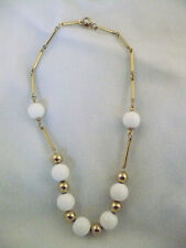 """Sarah Coventry gold cylinder & gold & white round bead choker necklace 14 1/2"""""""