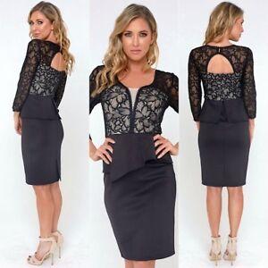 Gorgeous Sheer Long Sleeves , Stunning N Classy Dress Size 12 Black