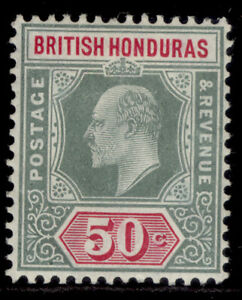 BRITISH HONDURAS EDVII SG90, 50c grey-green & carmine, M MINT. Cat £38.