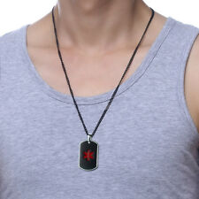 Fashion Medical Alert ID Dog Tag Necklace Pendant Stainless Steel Free Engraving